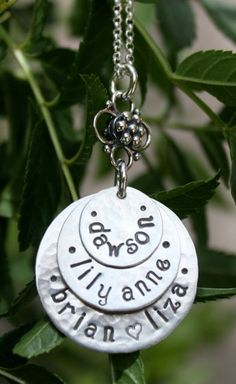 perfect with the boys names...3Disc Hand Stamped Stacked Necklace all silver  by TomisTreasures, $56.00