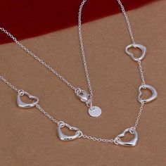 silver plated fashion jewelry Necklace pendants Chains, 925 jewelry silver plated necklace Five Small Heart Necklace yizw xcpb Silver Pendant Necklace, Sterling Silver Necklaces, Silver Jewelry, Silver Earrings, Moon Necklace, Silver Ring, 925 Silver, Small Heart Necklace, Silver Engagement Rings