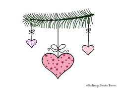 Tannenzweig Herz Doodle Stickdatei. Christmas bauble appliqué embroidery file for embroidery machines.  #sticken #weihnachten #diy