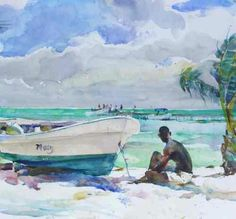 Acuarela de Charles Reid: Watching Belize 16 x 17
