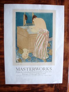 MARY CASSATT - WOMAN BATHING - POSTER - with SHP STAMP - CALIF LEGION  OF HONOR