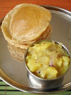 Puri - Potato Curry - Indian Food Recipes | Andhra Recipes | Indian Dishes Recipes | Sailu's Kitchen
