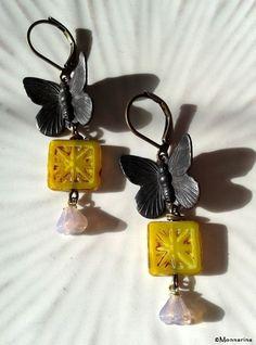 Painted butterflies, Picasso beads, Czech glass flower bells