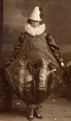 Early 20th century Pierette with musical cats costume