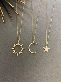 Celestial Sun Moon Necklace Sun necklace Moon necklace Moon and Sun Dainty Minimalist Jewelry Moon and sun gift for her Dainty Jewelry, Cute Jewelry, Jewelry Accessories, Jewelry Design, Silver Jewelry, Dainty Necklace, Jewelry Ideas, Indian Jewelry, Jewelry Quotes