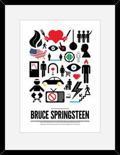 Bruce Springsteen pictogram poster. kr195.00, via Etsy.