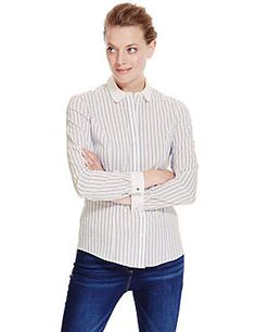 Blue Mix Contrast Collar Easy to Iron Striped Curvy Shirt