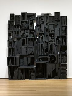 "Sky Cathedral  Louise Nevelson (American, born Ukraine. 1899–1988)  1958. Painted wood, 11' 3 1/2"" x 10' 1/4"" x 18"" (343.9 x 305.4 x 45.7 cm)"