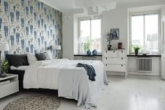 Välkommen till drömmen på Södra Vägen Swedish Bedroom, Scandinavian Bedroom, Scandinavian Interior Design, Dream Bedroom, Wallpaper, Inspiration, Furniture, Home Decor, Dreams