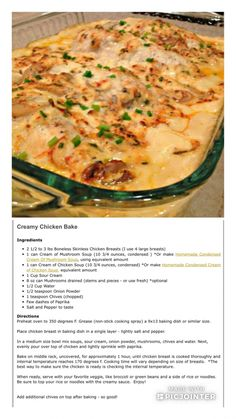 Yummy Chicken Recipes, Quick Dinner Recipes, Creamy Chicken Bake, Oven Chicken, Casserole Recipes, Chicken Casserole, Food Dishes, Main Dishes, Cooking Recipes
