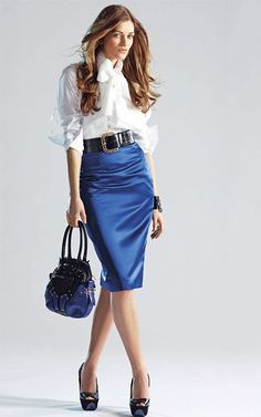 White Blouse Blue Satin Pencil Skirt Sheer Pantyhose Black Belt and Black High Heels