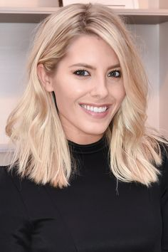 Mollie King shows off her new blunt short hair with subtle strawberry blonde highlights. Love!