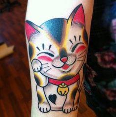 Cute funny cat tattoo