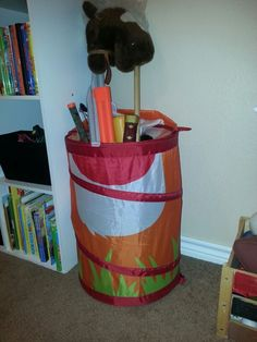 Laundry basket for all those swords & other little boy gadgets