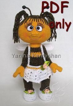 Miss Bee, animal, bug, crochet doll, amigurumi, PDF pattern