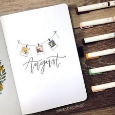 August Bullet Journal | Polaroids Theme - Rae's Daily Page Bullet Journal Year In Review, Bullet Journal Set Up, Bullet Journal Inspiration, August Month, Daily Page, Weekly Spread, Polaroids, Cover Pages, Pens