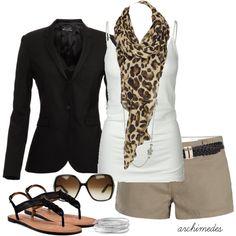 black blazer, white tank, animal print scarf, khaki shorts. casual but cute:)
