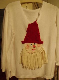 Plus size Snazzy Santa White Cotton Pullover by SheerFab on Etsy, $60.00