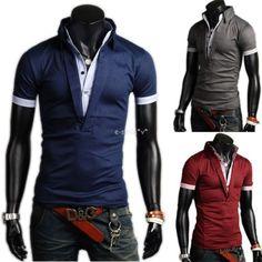 Mens Fashion Casual Slim Fit Polo Shirt T-shirts Tops Tee Shirt 3Color M-XXL