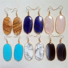 WT-E222 Unique design stone earrings for women natural stone in high quality big  oval earrings Colorful stone earrings jewelry