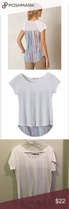 Prana Dina Top PrAna Dina Top. White. Back is white crochet and multi-colored stripe. Worn one time. Like new!  No stains, holes. Prana Tops Tees - Short Sleeve
