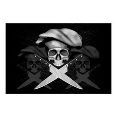 Black and white half skull wearing traditional, puffy style chef hat. Crossed chef knives as crossbones.