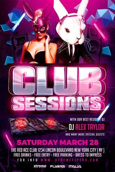 Club Sessions Flyer Template - http://xtremeflyers.com/club-sessions-flyer-template/ Club Sessions Flyer Template PSD was designed to advertise any kind of seasonal event in a Night Club / Bar / Pub.  #Bar, #Club, #Deejay, #Dj, #Flyer, #Poster, #Psd, #Pub, #Sessions, #Template