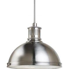 industrial pendant light fixture in brushed nickel or bronze