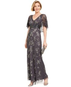 Edwardian 1900s  Inspired Evening Dresses Adrianna Papell Beaded Capelet Gown $369.00 AT vintagedancer.com