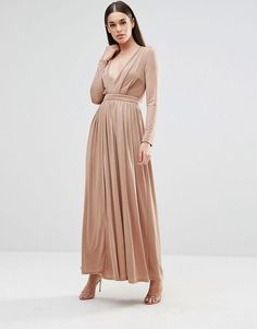 On SALE at 40% OFF! Long sleeve slinky maxi dress with front split by Sistaglam. Maxi dress by Sistaglam, Slinky stretch fabric, Mini-length lining, Plunge neckline, Fitted empire band, Thigh-high s...