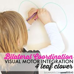 Bilateral coordination activity with a clover theme works on visual motor coordination, kinesthetic sense, peripheral vision for improved gross motor and fine motor bilateral activities. Visual Motor Activities, Visual Perceptual Activities, Tactile Activities, Cutting Activities, Movement Activities, Motor Coordination, Sensory Therapy, Handwriting Activities, Vision Therapy