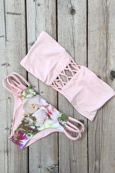 San Lorenzo Reversible Braided Bandeau and Interlace Bottom Rose Quartz/Blossom
