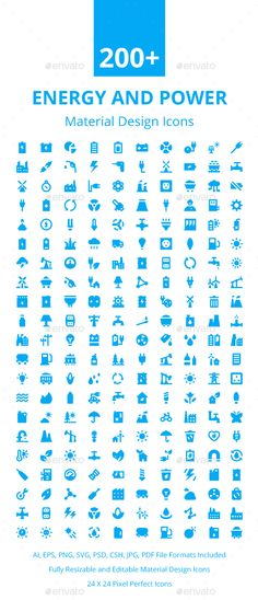200+ Energy and Power Material Icons. Download here…
