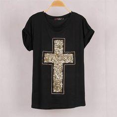 Free Shipping Summer Women Tees Plus Size T-shirt Tops   Casual Women Cross Sequined T shirt Blusas Short Bat Sleeve Stretch