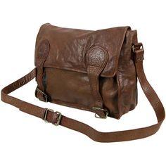 VIPARO Tan 13 Inch Vintage Wash Leather Satchel Messenger Bag - Gustaf ($210) ❤ liked on Polyvore