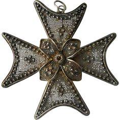 Vintage Sterling Maltese Cross Pendant Sardinian Filigree from Suzy's Timeless Treasures on Ruby Lane