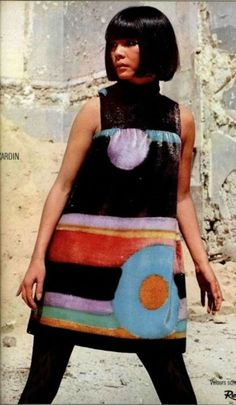 Pierre Cardin-1967. Dresses were getting shorter and prints were getting bolder. As our junior high school had strict rules about dress length, lots of girls got sent home from school to change; it was considered a badge of (dis)honor; depending on who was doing the considering.