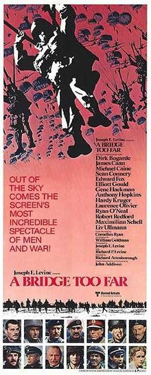 A Bridge Too Far is a 1977 epic war film based on the 1974 book of the same name by Cornelius Ryan. The film tells the story of the failure of Operation Market Garden during World War II, the Allied attempt to break through German lines and seize several bridges in the occupied Netherlands, including one at Arnhem, with the main objective of outflanking German defenses.