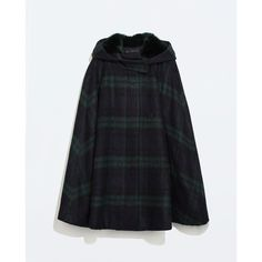 Zara Hooded Checked Wool Cape ($80) ❤ liked on Polyvore featuring outerwear, coats, coats & jackets, jackets, zara, wool coat, zara cape, hooded wool cape, hooded wool coat and hooded coats