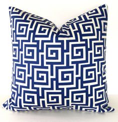 Greek Key Indoor And Outdoor Pillow Cover, Blue And Ivory By - contemporary - pillows - Etsy Beautiful Interior Design, Home Interior Design, Interior Ideas, Contemporary Pillows, Outdoor Pillow Covers, Geometric Pillow, Vintage Pillows, Greek Key, Key Design