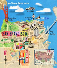 Illustrated map of San Francisco Auf designwalesforum.org http://www.pinterest.com/merissa/illustration/