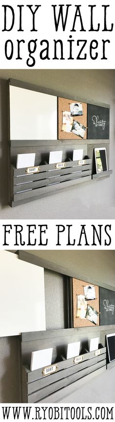 Get organized for back-to-school with this DIY Wall Organizer! Each component slides in and out, making it 100% customizable! Double up on a component or create your own! Find the free plans at www.ryobitools.com