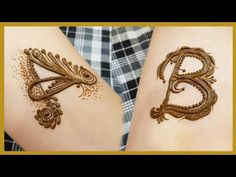A and B alphabet henna design tattoo | heena vahid - YouTube