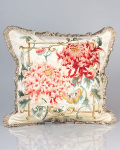 "Jay Strongwater Chrysanthemum 20""Sq. Pillow. My birth flower."