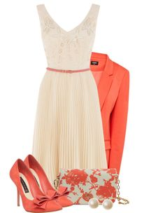 Elegant cream simple dress | coral blazer and heels | pearl earrings, clutch