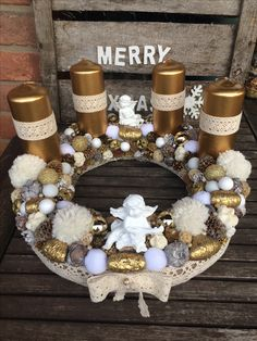 Advent wreath centerpiece diy craft white brown gold angels lace bow candles