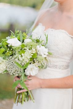 Green & White Wedding Bouquet via SMP: http://www.stylemepretty.com/maine-weddings/2013/04/25/maine-wedding-at-camp-mataponi-from-emily-delamater-photography| Emily Delamater Photography