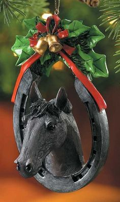 Black Horse & Horseshoe Ornament | Equestrian & Western Christmas Ornaments | Holiday Gifts Christmas | | Furry Partners  $9.95