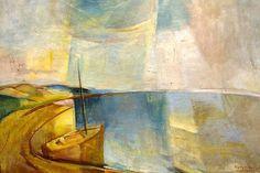 """EGRI JÓZSEF (1883-1951): FÉNYEK A BALATONON """"Soha nem felejtem el, hogy a táj, ami előttem van, mögöttem folytatódik."""" Egry József Gallery, Image, Paintings, Landscapes, Artists, Google, Paint, Idea Paint, Art Production"""