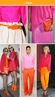 Pink and orange is a great color combination Colour Combinations Fashion, Color Combinations For Clothes, Fashion Colours, Pink Fashion, Colorful Fashion, Modest Fashion, Color Blocking Outfits, Chic Outfits, Fashion Outfits